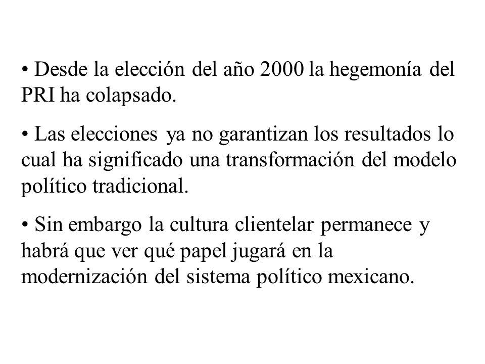 Desde la elección del año 2000 la hegemonía del PRI ha colapsado. Las elecciones ya no garantizan los resultados lo cual ha significado una transforma