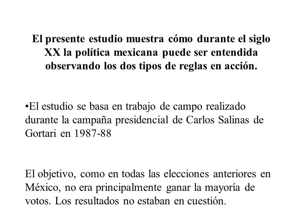 El presente estudio muestra cómo durante el siglo XX la política mexicana puede ser entendida observando los dos tipos de reglas en acción. El estudio