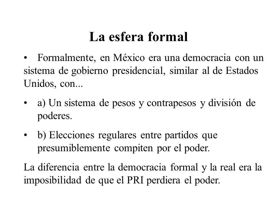 La esfera formal Formalmente, en México era una democracia con un sistema de gobierno presidencial, similar al de Estados Unidos, con... a) Un sistema
