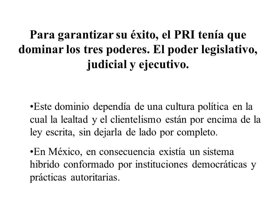 La cultura política que permitía esta forma de gobierno, se basaba en gran medida en relaciones informales.