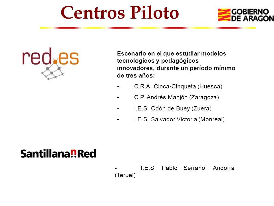Centros Piloto Escenario en el que estudiar modelos tecnológicos y pedagógicos innovadores, durante un período mínimo de tres años: - C.R.A.