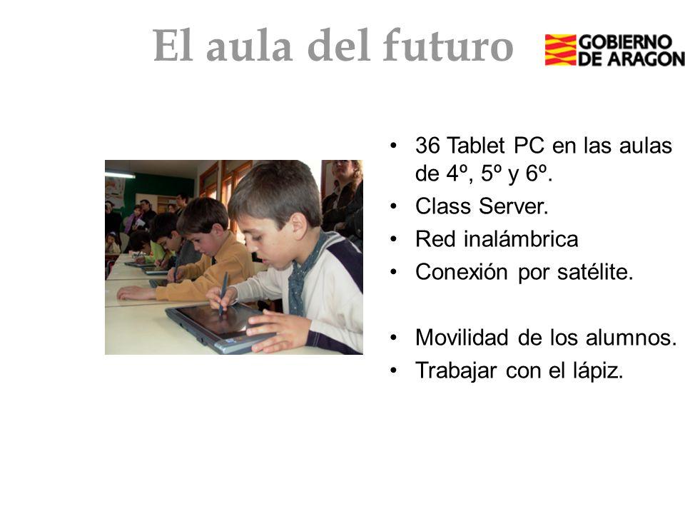 El aula del futuro 36 Tablet PC en las aulas de 4º, 5º y 6º. Class Server. Red inalámbrica Conexión por satélite. Movilidad de los alumnos. Trabajar c