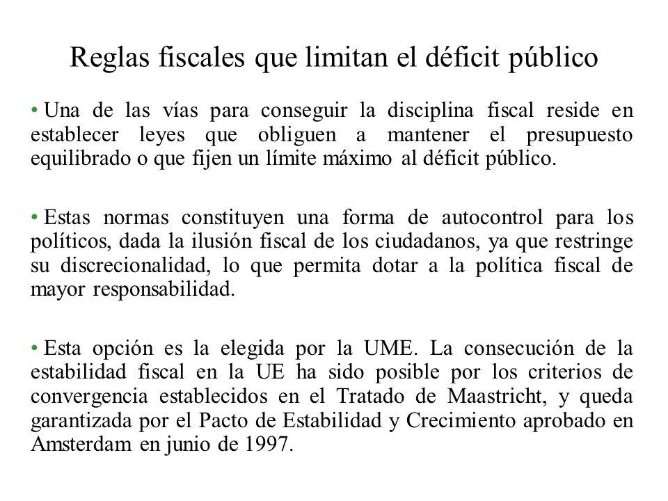 Reglas fiscales que limitan el déficit público Una de las vías para conseguir la disciplina fiscal reside en establecer leyes que obliguen a mantener el presupuesto equilibrado o que fijen un límite máximo al déficit público.