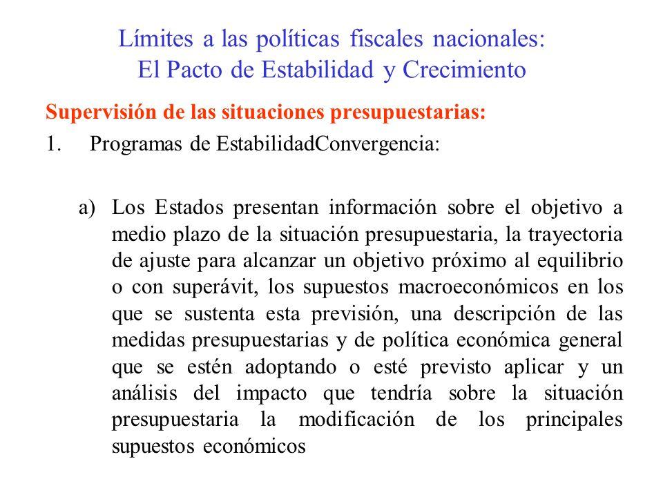 Límites a las políticas fiscales nacionales: El Pacto de Estabilidad y Crecimiento Supervisión de las situaciones presupuestarias: 1.Programas de Esta