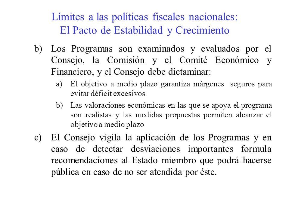 Límites a las políticas fiscales nacionales: El Pacto de Estabilidad y Crecimiento b)Los Programas son examinados y evaluados por el Consejo, la Comis