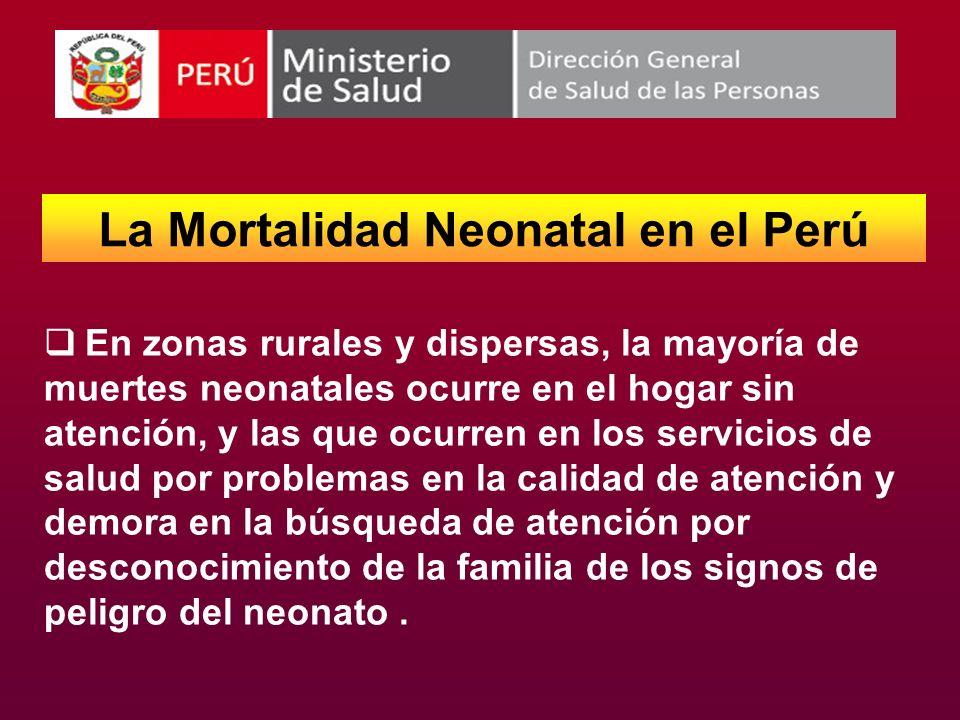 La Mortalidad Neonatal en el Perú En zonas rurales y dispersas, la mayoría de muertes neonatales ocurre en el hogar sin atención, y las que ocurren en