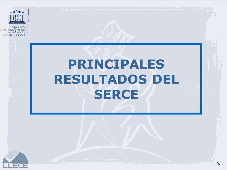 10 PRINCIPALES RESULTADOS DEL SERCE