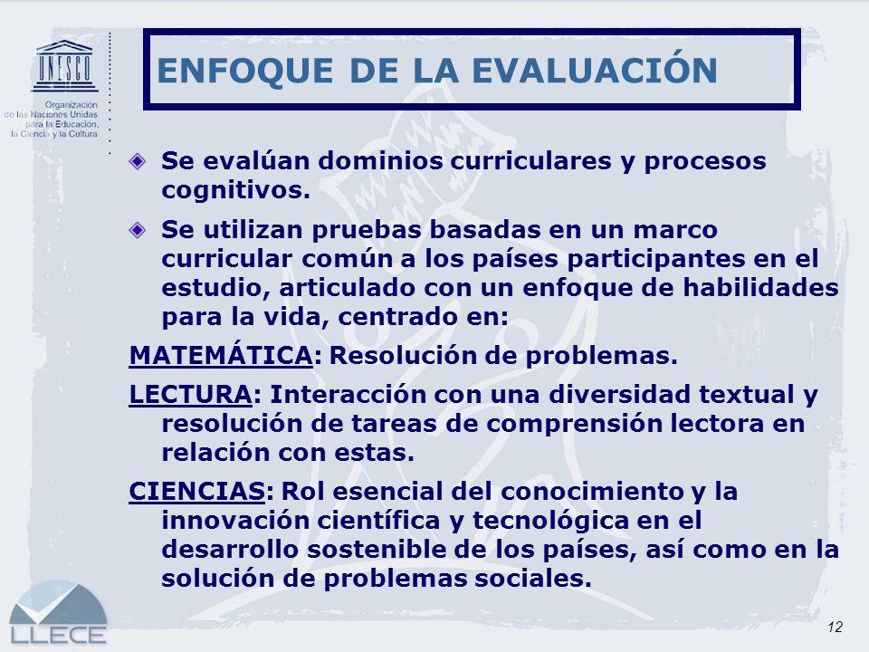 12 Se evalúan dominios curriculares y procesos cognitivos. Se utilizan pruebas basadas en un marco curricular común a los países participantes en el e