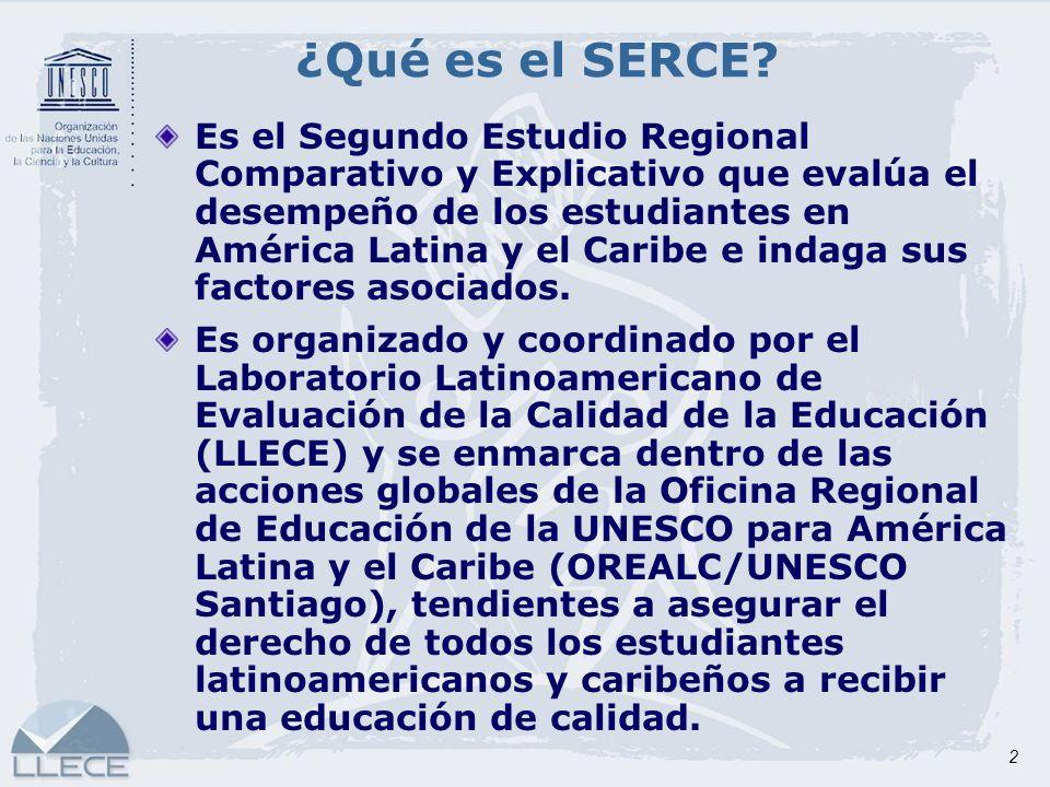 2 ¿Qué es el SERCE? Es el Segundo Estudio Regional Comparativo y Explicativo que evalúa el desempeño de los estudiantes en América Latina y el Caribe