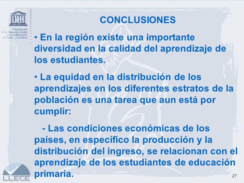 27 CONCLUSIONES En la región existe una importante diversidad en la calidad del aprendizaje de los estudiantes. La equidad en la distribución de los a