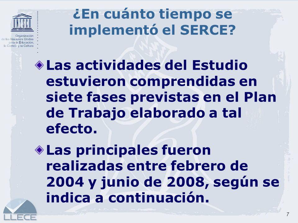 7 ¿En cuánto tiempo se implementó el SERCE? Las actividades del Estudio estuvieron comprendidas en siete fases previstas en el Plan de Trabajo elabora