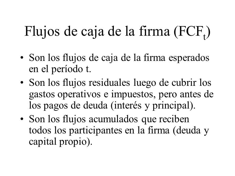 Flujos de caja de la firma (FCF t ) Son los flujos de caja de la firma esperados en el período t. Son los flujos residuales luego de cubrir los gastos