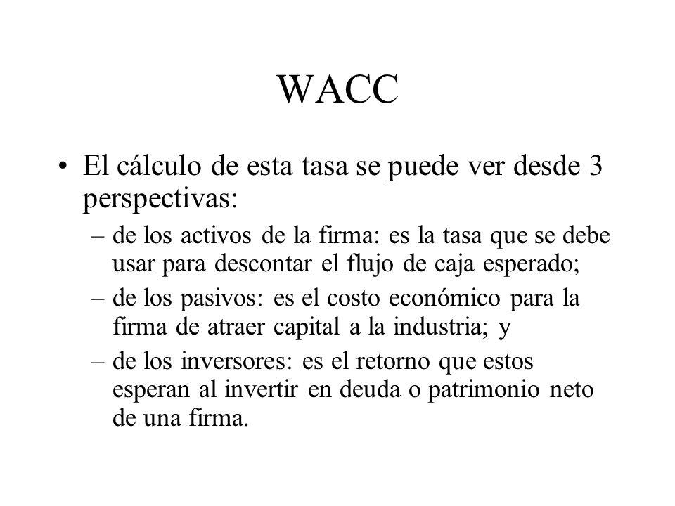 WACC El cálculo de esta tasa se puede ver desde 3 perspectivas: –de los activos de la firma: es la tasa que se debe usar para descontar el flujo de ca