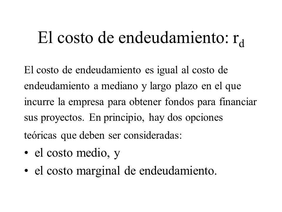 El costo de endeudamiento: r d El costo de endeudamiento es igual al costo de endeudamiento a mediano y largo plazo en el que incurre la empresa para