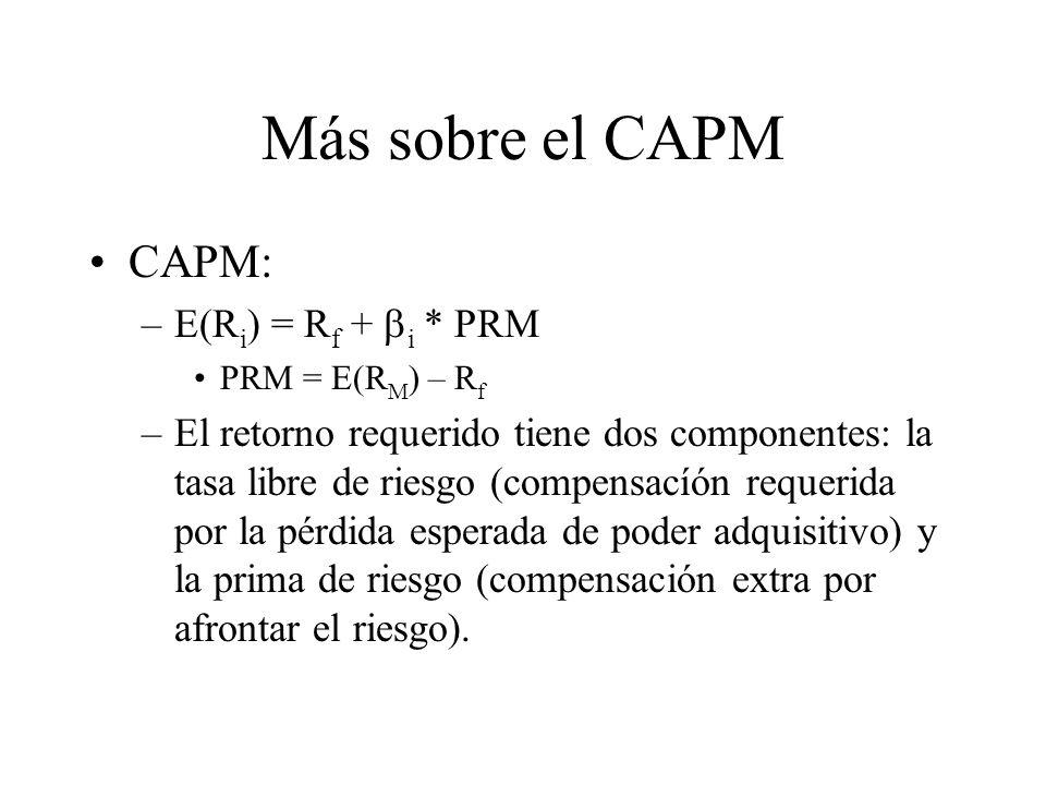 Más sobre el CAPM CAPM: –E(R i ) = R f + i * PRM PRM = E(R M ) – R f –El retorno requerido tiene dos componentes: la tasa libre de riesgo (compensacíó