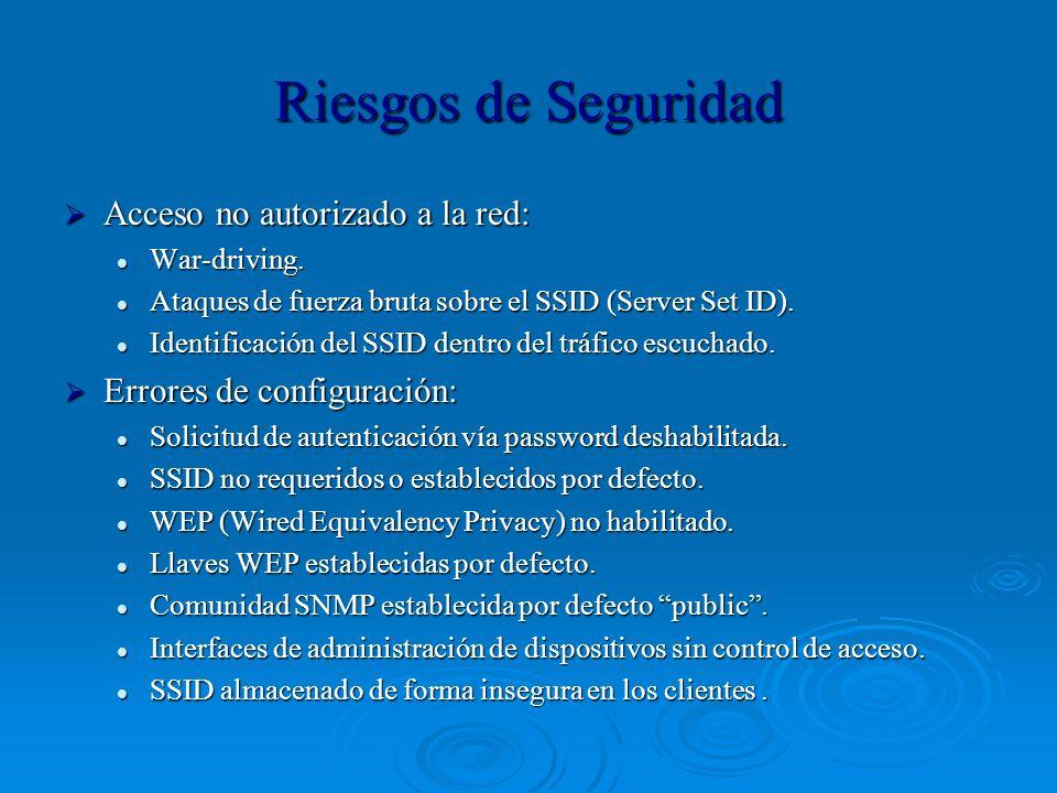 Riesgos de Seguridad Acceso no autorizado a la red: Acceso no autorizado a la red: War-driving. War-driving. Ataques de fuerza bruta sobre el SSID (Se
