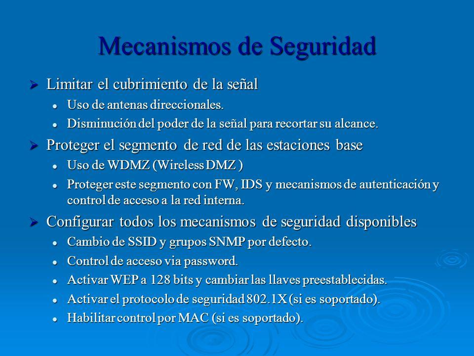 Mecanismos de Seguridad Limitar el cubrimiento de la señal Limitar el cubrimiento de la señal Uso de antenas direccionales. Uso de antenas direccional