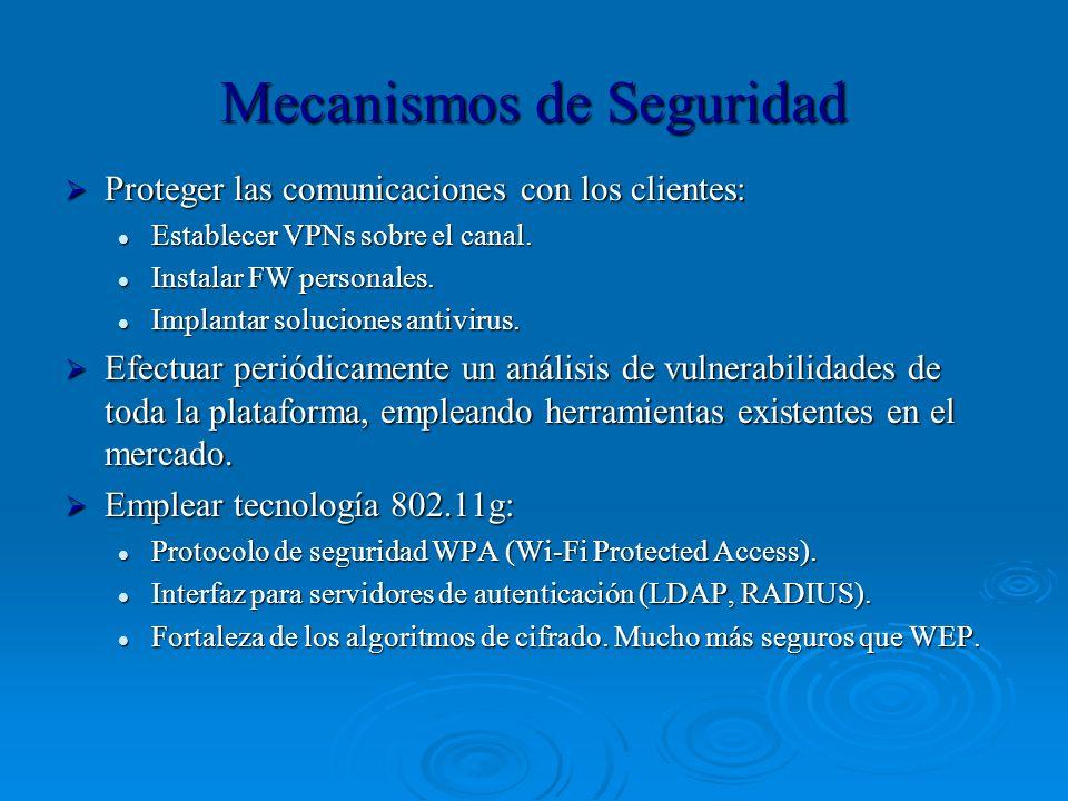 Mecanismos de Seguridad Proteger las comunicaciones con los clientes: Proteger las comunicaciones con los clientes: Establecer VPNs sobre el canal. Es