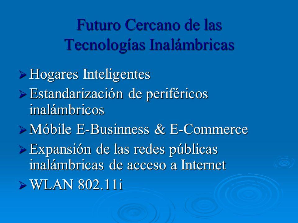 Futuro Cercano de las Tecnologías Inalámbricas Hogares Inteligentes Hogares Inteligentes Estandarización de periféricos inalámbricos Estandarización d
