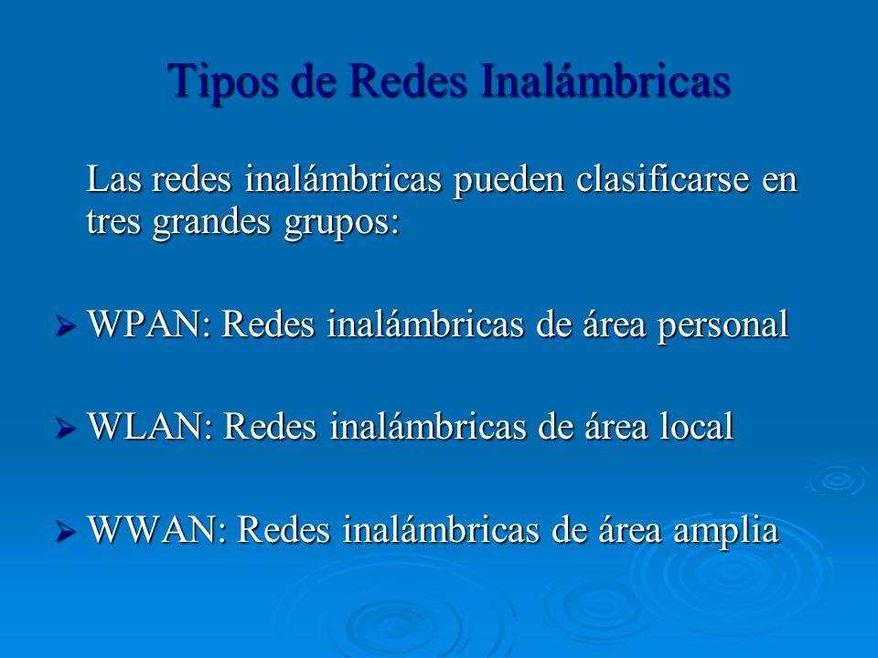 Tipos de Redes Inalámbricas Las redes inalámbricas pueden clasificarse en tres grandes grupos: WPAN: Redes inalámbricas de área personal WPAN: Redes i