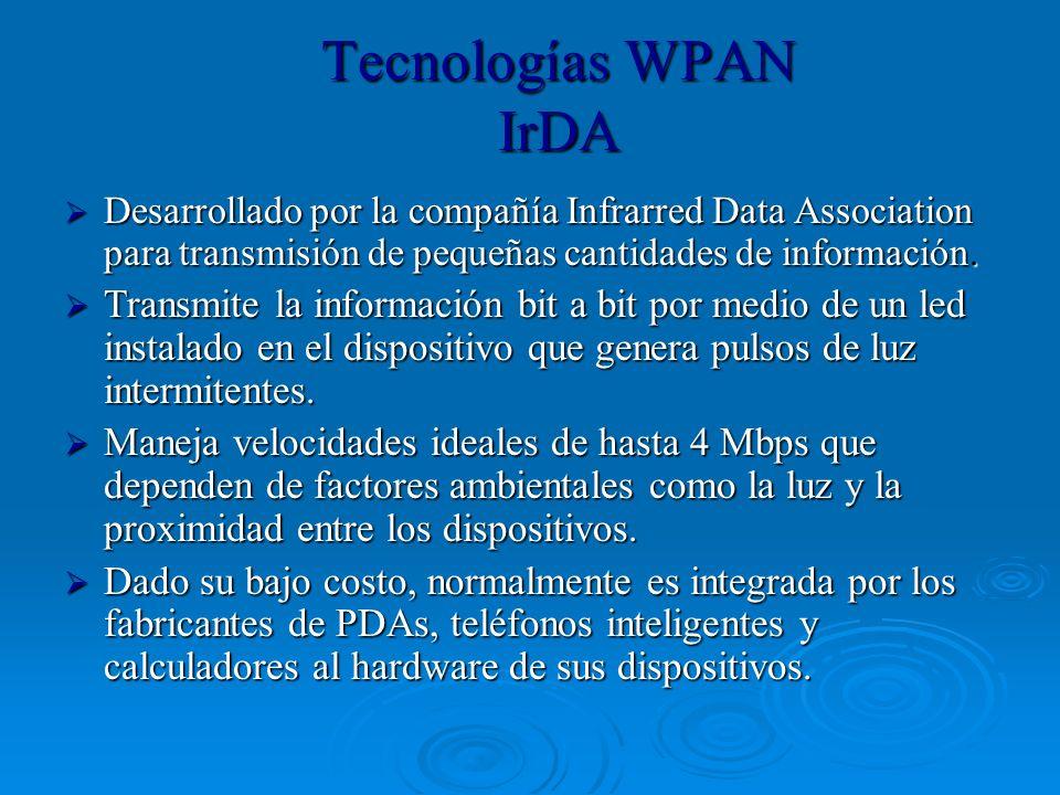 Tecnologías WPAN IrDA Desarrollado por la compañía Infrarred Data Association para transmisión de pequeñas cantidades de información. Desarrollado por