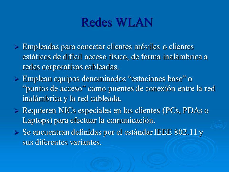 Redes WLAN Empleadas para conectar clientes móviles o clientes estáticos de difícil acceso físico, de forma inalámbrica a redes corporativas cableadas