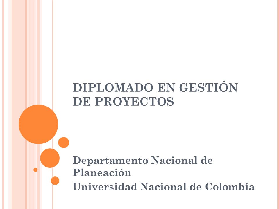 DIPLOMADO EN GESTIÓN DE PROYECTOS Departamento Nacional de Planeación Universidad Nacional de Colombia