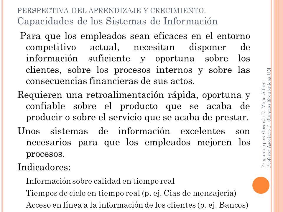 PERSPECTIVA DEL APRENDIZAJE Y CRECIMIENTO. Capacidades de los Sistemas de Información Para que los empleados sean eficaces en el entorno competitivo a