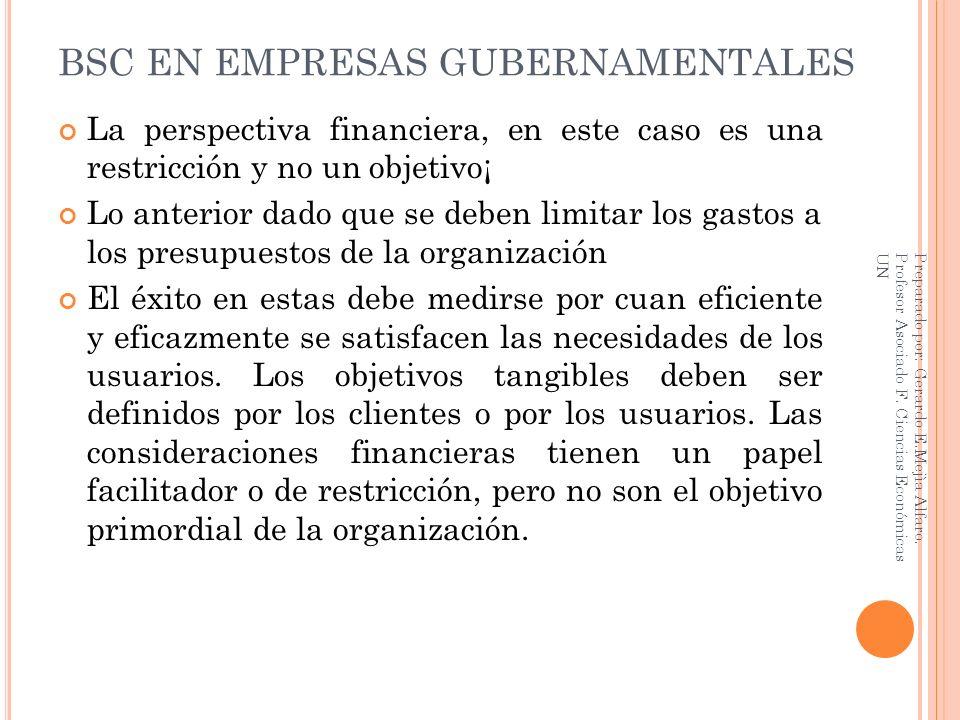 BSC EN EMPRESAS GUBERNAMENTALES La perspectiva financiera, en este caso es una restricción y no un objetivo¡ Lo anterior dado que se deben limitar los
