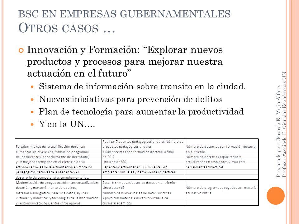 BSC EN EMPRESAS GUBERNAMENTALES O TROS CASOS … Innovación y Formación: Explorar nuevos productos y procesos para mejorar nuestra actuación en el futur
