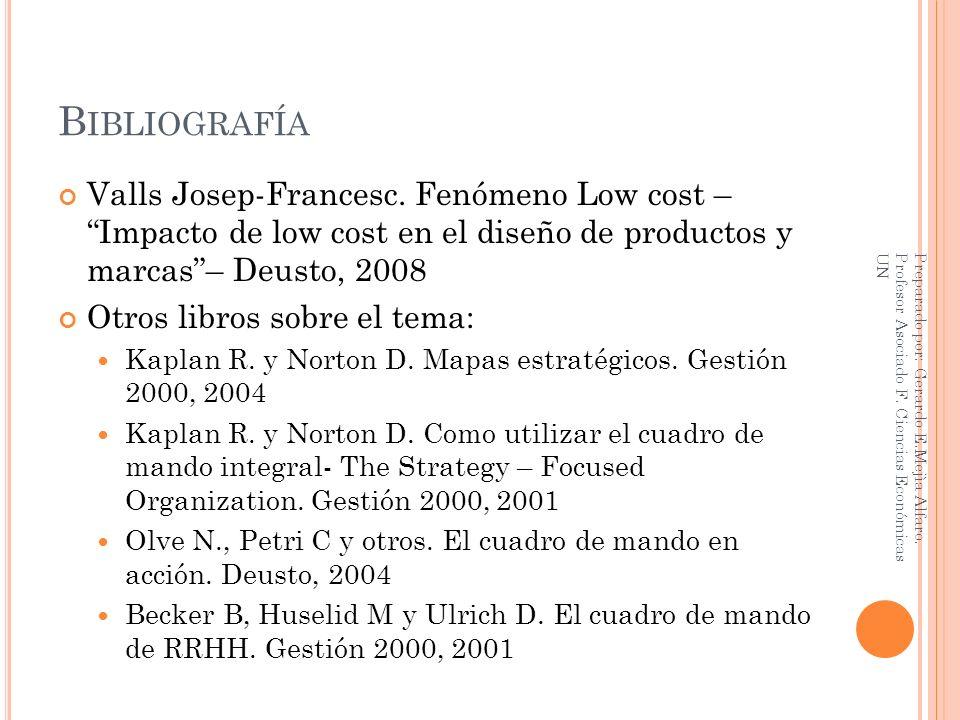B IBLIOGRAFÍA Valls Josep-Francesc. Fenómeno Low cost – Impacto de low cost en el diseño de productos y marcas– Deusto, 2008 Otros libros sobre el tem