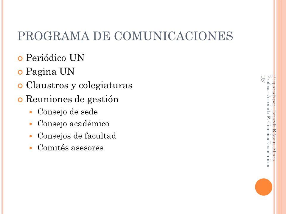PROGRAMA DE COMUNICACIONES Periódico UN Pagina UN Claustros y colegiaturas Reuniones de gestión Consejo de sede Consejo académico Consejos de facultad