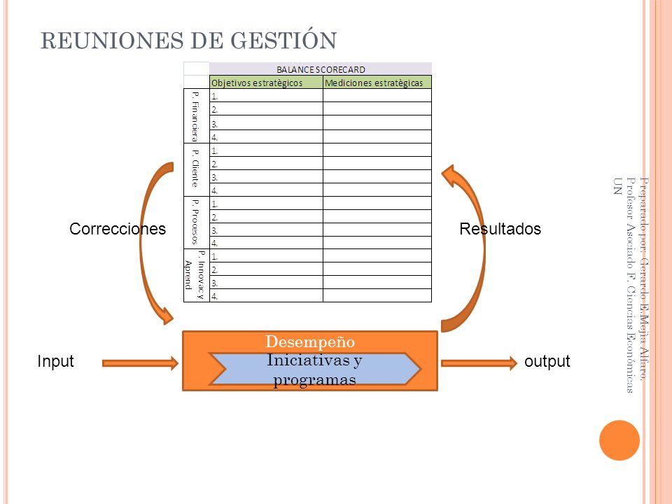 REUNIONES DE GESTIÓN Preparado por: Gerardo E.Mejìa Alfaro. Profesor Asociado F. Ciencias Económicas UN Desempeño Iniciativas y programas Inputoutput