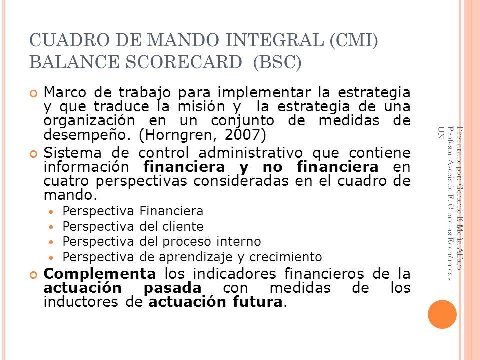 CUADRO DE MANDO INTEGRAL (CMI) BALANCE SCORECARD (BSC) Marco de trabajo para implementar la estrategia y que traduce la misión y la estrategia de una