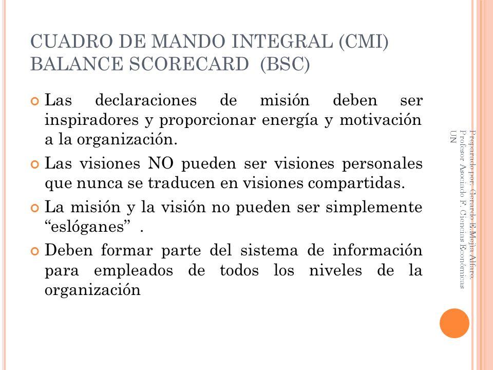 CUADRO DE MANDO INTEGRAL (CMI) BALANCE SCORECARD (BSC) Las declaraciones de misión deben ser inspiradores y proporcionar energía y motivación a la org