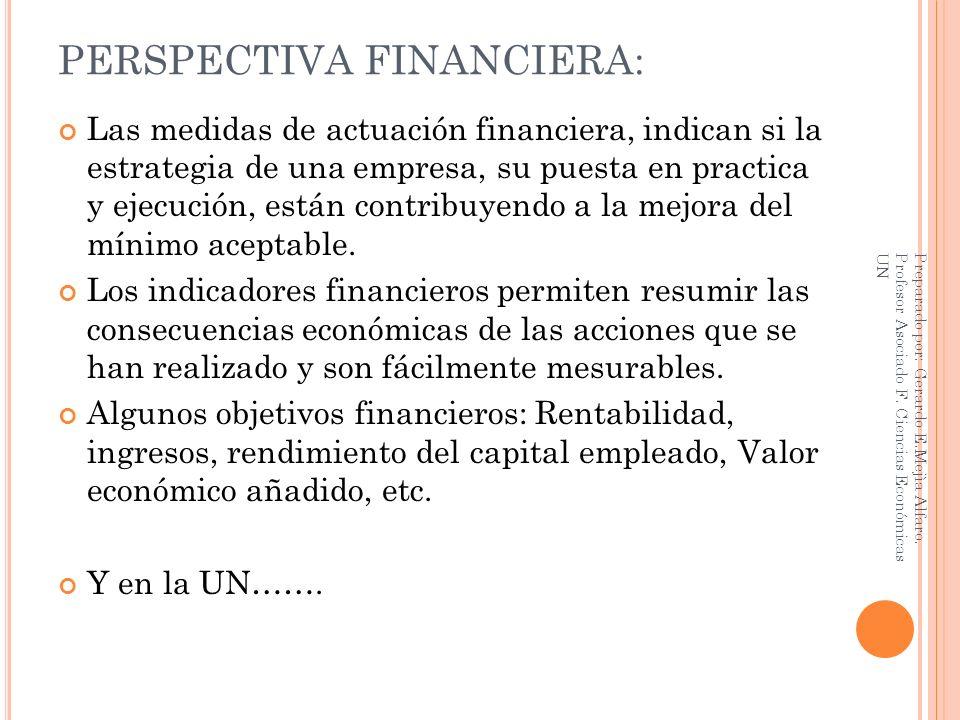 PERSPECTIVA FINANCIERA: Las medidas de actuación financiera, indican si la estrategia de una empresa, su puesta en practica y ejecución, están contrib