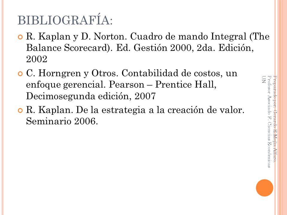 BIBLIOGRAFÍA: R. Kaplan y D. Norton. Cuadro de mando Integral (The Balance Scorecard). Ed. Gestión 2000, 2da. Edición, 2002 C. Horngren y Otros. Conta