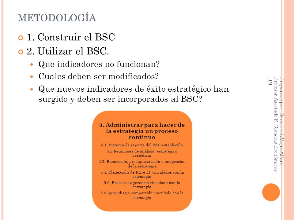 METODOLOGÍA 1. Construir el BSC 2. Utilizar el BSC. Que indicadores no funcionan? Cuales deben ser modificados? Que nuevos indicadores de éxito estrat