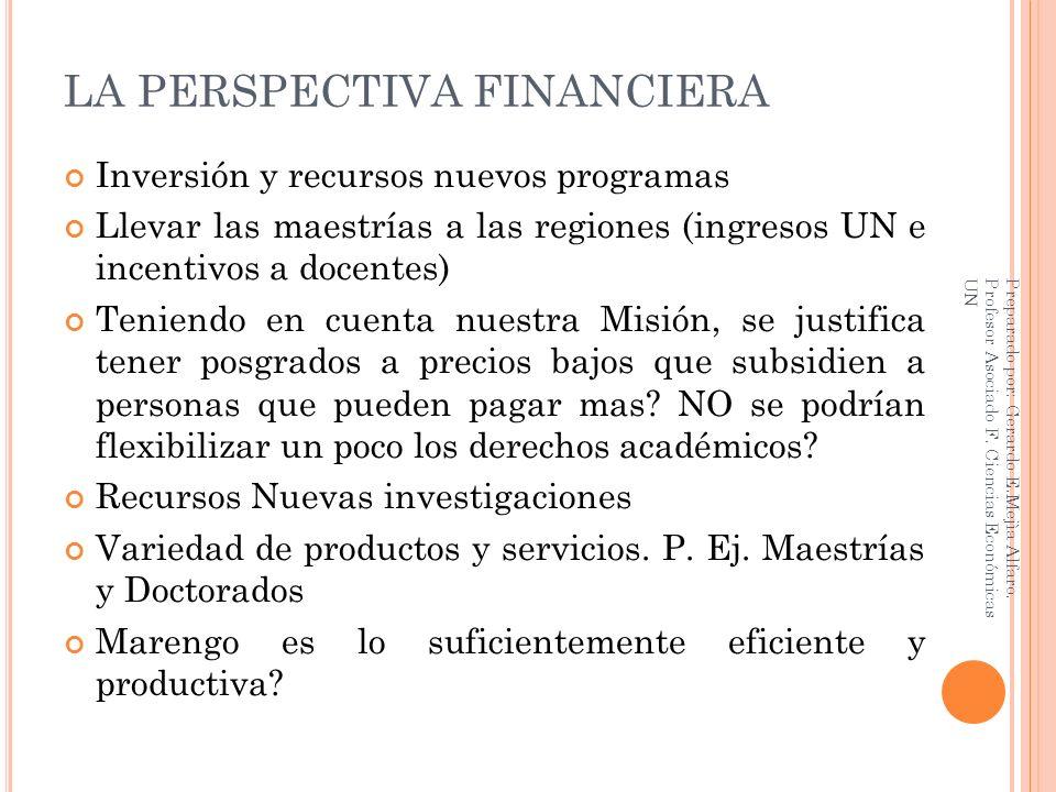 LA PERSPECTIVA FINANCIERA Inversión y recursos nuevos programas Llevar las maestrías a las regiones (ingresos UN e incentivos a docentes) Teniendo en