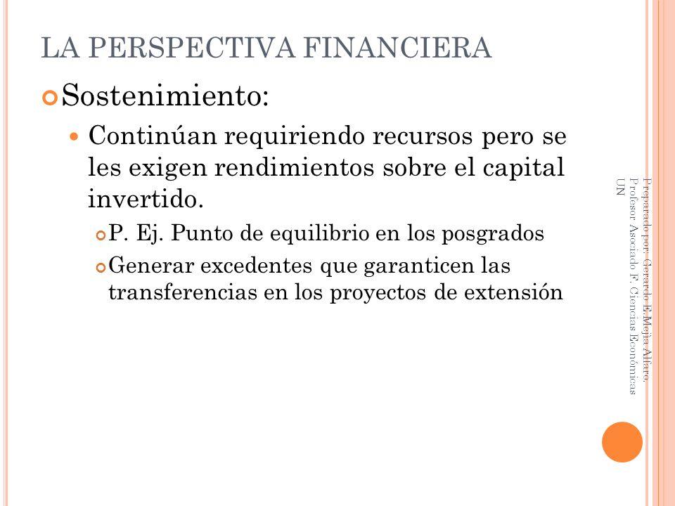 LA PERSPECTIVA FINANCIERA Sostenimiento: Continúan requiriendo recursos pero se les exigen rendimientos sobre el capital invertido. P. Ej. Punto de eq