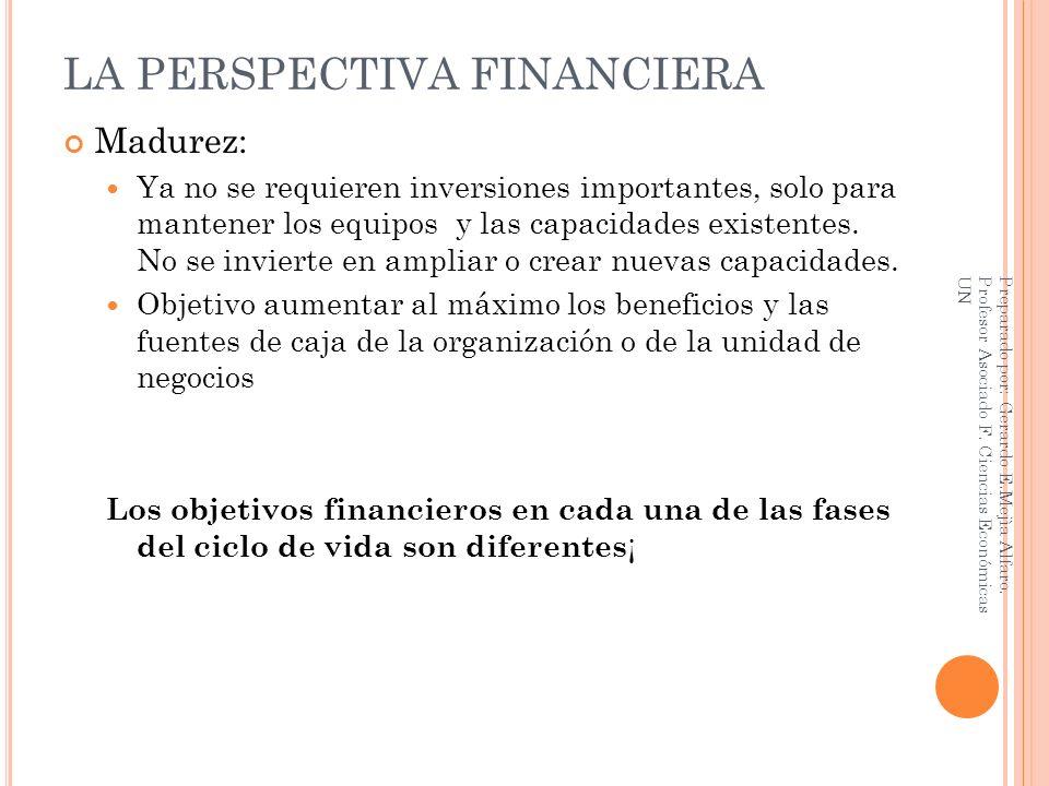 LA PERSPECTIVA FINANCIERA Madurez: Ya no se requieren inversiones importantes, solo para mantener los equipos y las capacidades existentes. No se invi