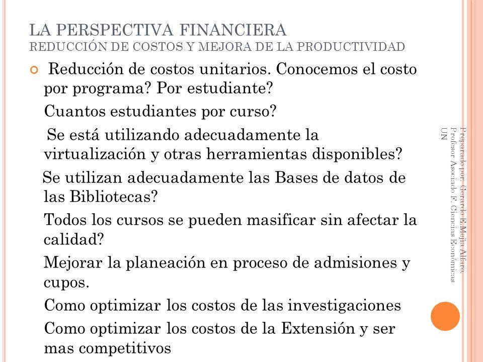 LA PERSPECTIVA FINANCIERA REDUCCIÓN DE COSTOS Y MEJORA DE LA PRODUCTIVIDAD Reducción de costos unitarios. Conocemos el costo por programa? Por estudia