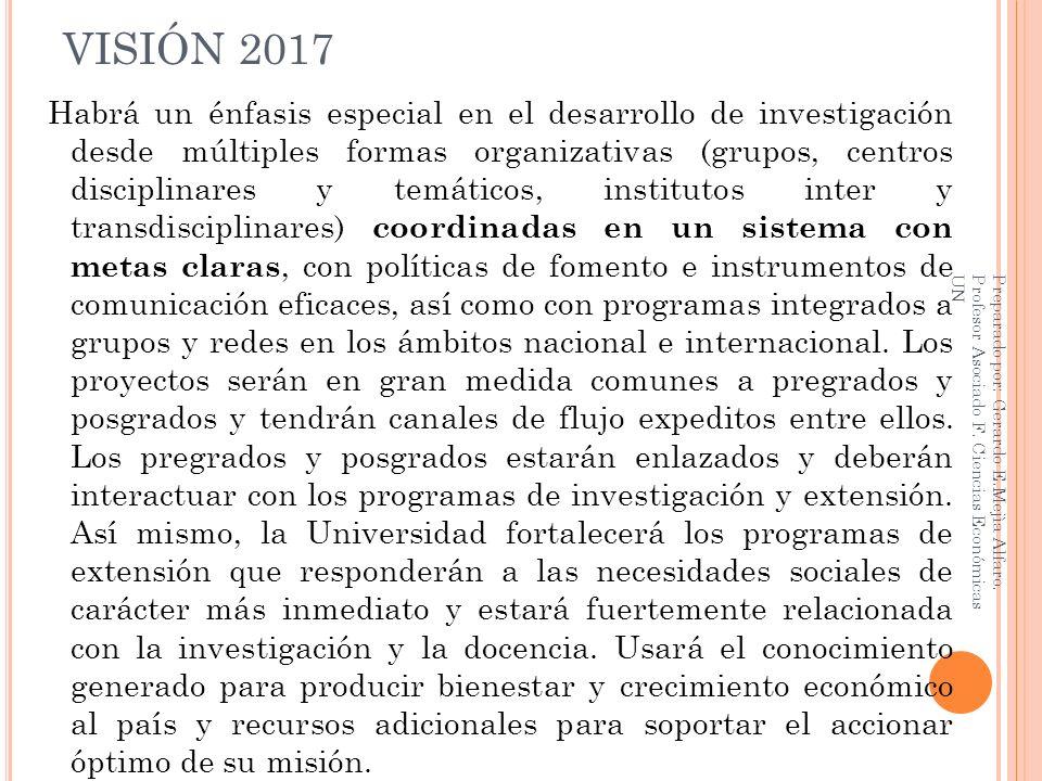 VISIÓN 2017 Habrá un énfasis especial en el desarrollo de investigación desde múltiples formas organizativas (grupos, centros disciplinares y temático