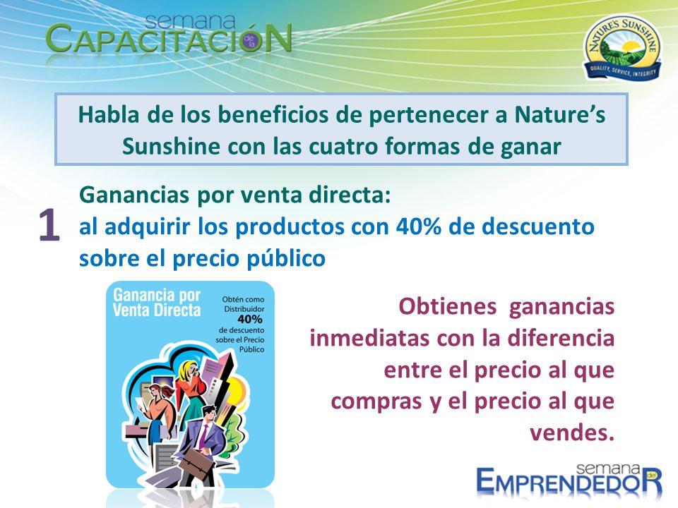 Habla de los beneficios de pertenecer a Natures Sunshine con las cuatro formas de ganar Ganancias por venta directa: al adquirir los productos con 40%