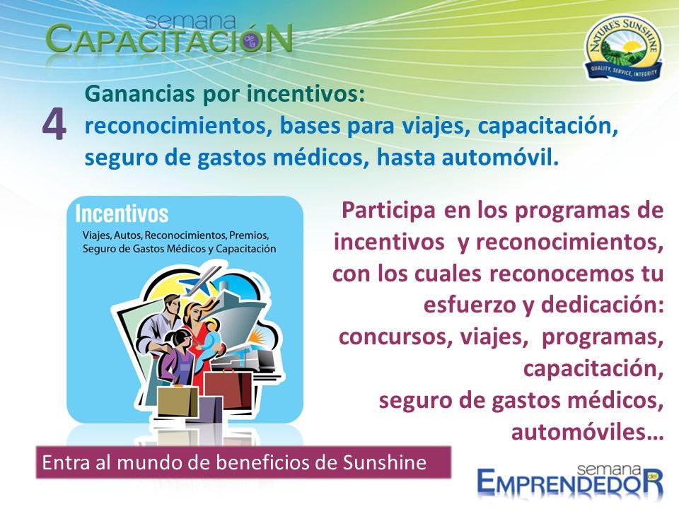 Ganancias por incentivos: reconocimientos, bases para viajes, capacitación, seguro de gastos médicos, hasta automóvil. 4 Participa en los programas de