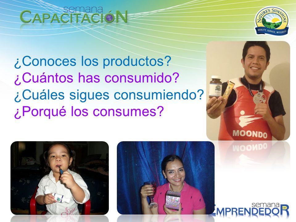¿Conoces los productos? ¿Cuántos has consumido? ¿Cuáles sigues consumiendo? ¿Porqué los consumes?
