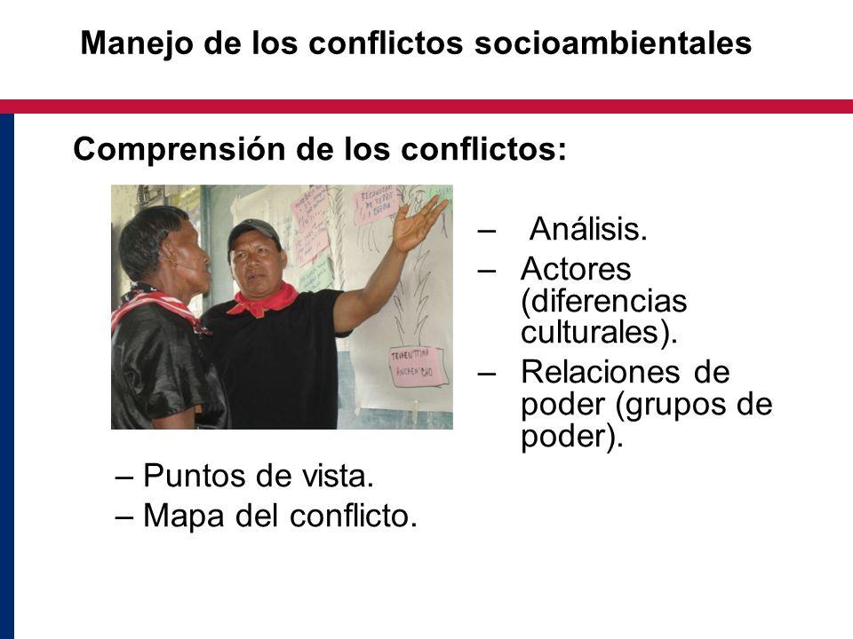 Manejo de los conflictos socioambientales Comprensión de los conflictos: – Análisis. –Actores (diferencias culturales). –Relaciones de poder (grupos d