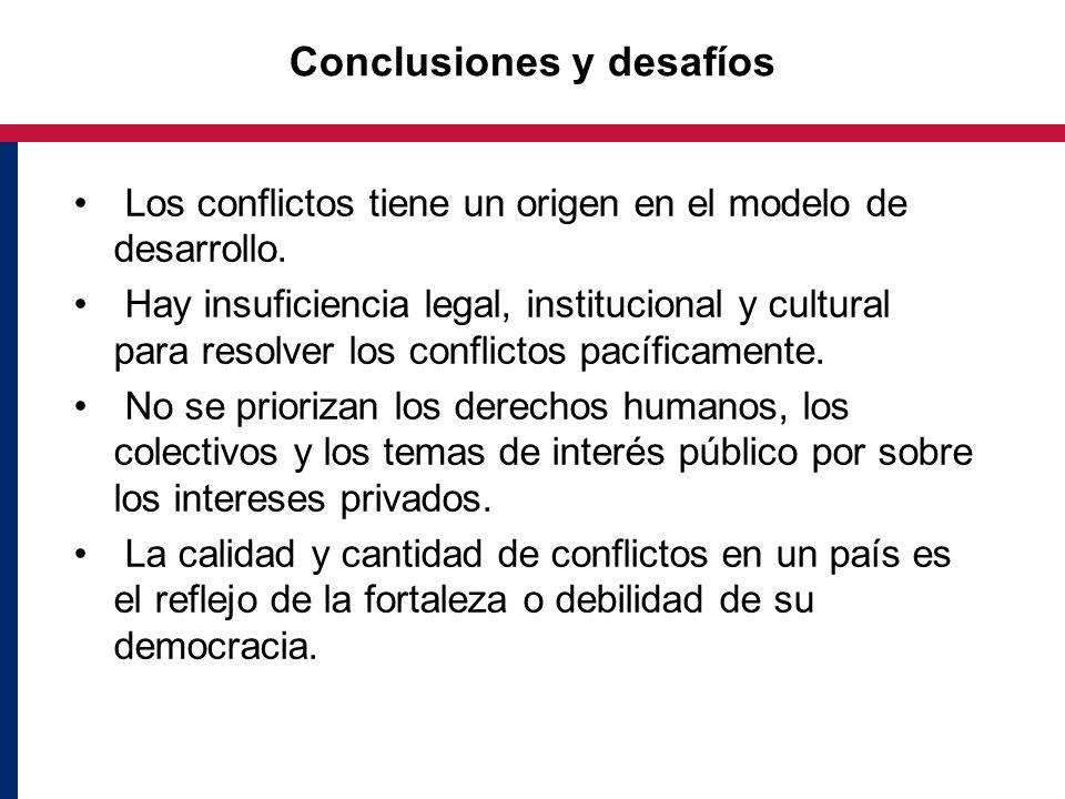 Conclusiones y desafíos Los conflictos tiene un origen en el modelo de desarrollo. Hay insuficiencia legal, institucional y cultural para resolver los