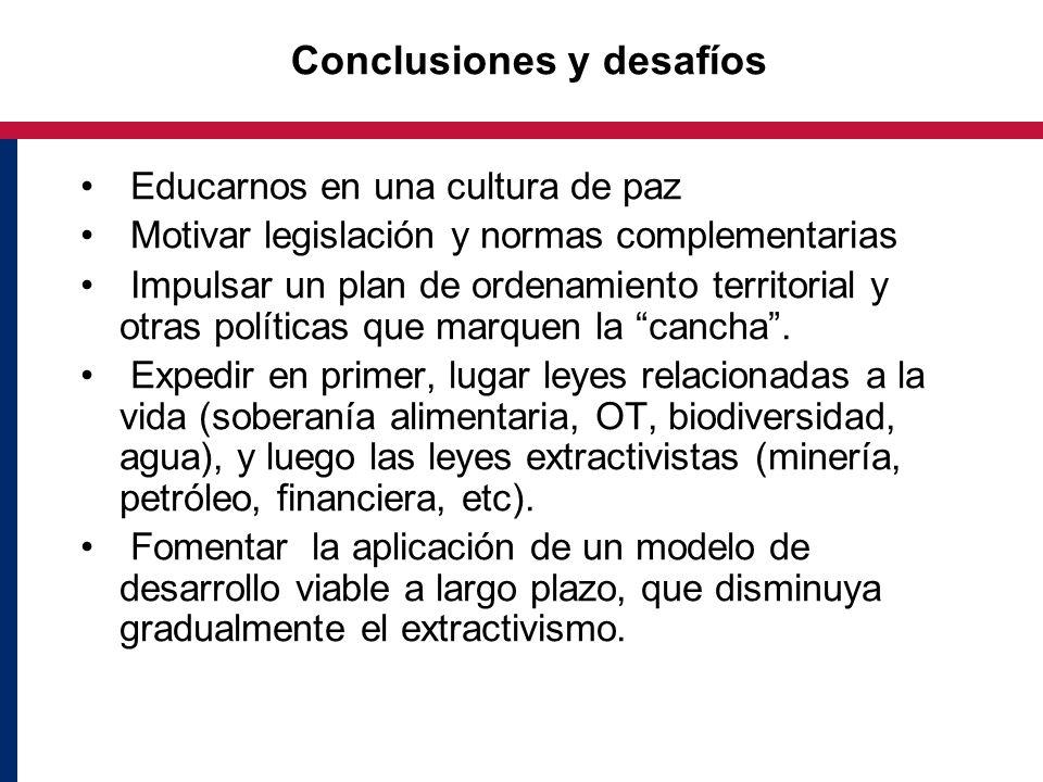 Conclusiones y desafíos Educarnos en una cultura de paz Motivar legislación y normas complementarias Impulsar un plan de ordenamiento territorial y otras políticas que marquen la cancha.