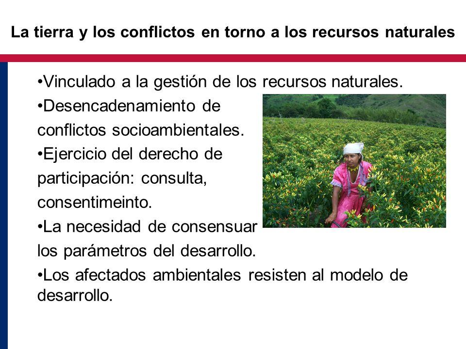 La tierra y los conflictos en torno a los recursos naturales Vinculado a la gestión de los recursos naturales. Desencadenamiento de conflictos socioam